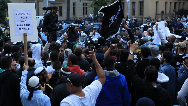 In the Sydney demonstration you will see Al Qaeda Flags