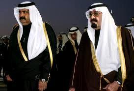 Hamad of Qatar with Abdullah of Saudi Arabia