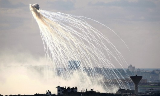 A white phosphorus shell exploding. The shells' use in Gaza constitutes a war crime according to Human Rights Watch.