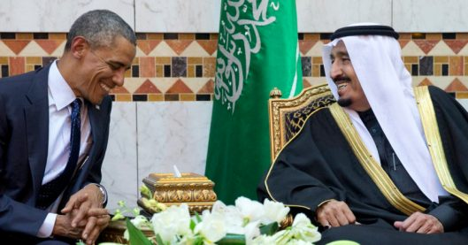 FILE - In this Tuesday, Jan. 27, 2015 file photo, President Barack Obama meets new Saudi Arabian King Salman bin Abdul Aziz in Riyadh, Saudi Arabia. It is not just the Saudi king who will be skipping the Camp David summit of U.S. and allied Arab leaders. Most Gulf heads of state won't be there. The absences will put a damper on talks that are designed to reassure key Arab allies, and almost certainly reflect dissatisfaction among leaders of the six-member Gulf Cooperation Council with Washington's handling of Iran and what they expect to get out of the meeting. (AP Photo/Carolyn Kaster-file)