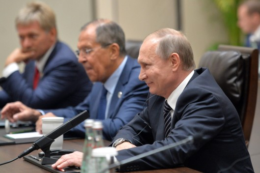 HANGZHOU, CHINA SEPTEMBER 5, 2016: Russia's President Vladimir Putin, Russia's Foreign Minister Sergei Lavrov, and spokesman for the President of Russia Dmitry Peskov (R-L) meet with US President Barack Obama on the sidelines of the G20 summit. Alexei Druzhinin/Russian Presidential Press and Information Office/TASS (Photo by Alexei DruzhininTASS via Getty Images)